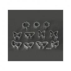 Набор форм металлических (бабочки+цветы) для выдавливания глины (11 шт.) PCS-22