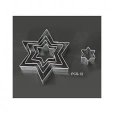 Набор форм металлических (звезда) для выдавливания глины (5 шт.) PCS-12
