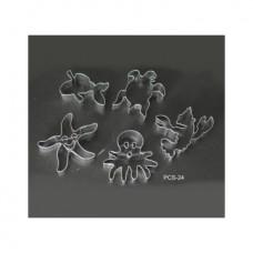 Набор форм металлических (черепашка,рак,рыбка,осьминог,звезда) для выдавливания глины (5 шт.) PCS-24