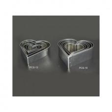 Набор форм металлических (сердечко) для выдавливания глины (6 шт.) PCS-15